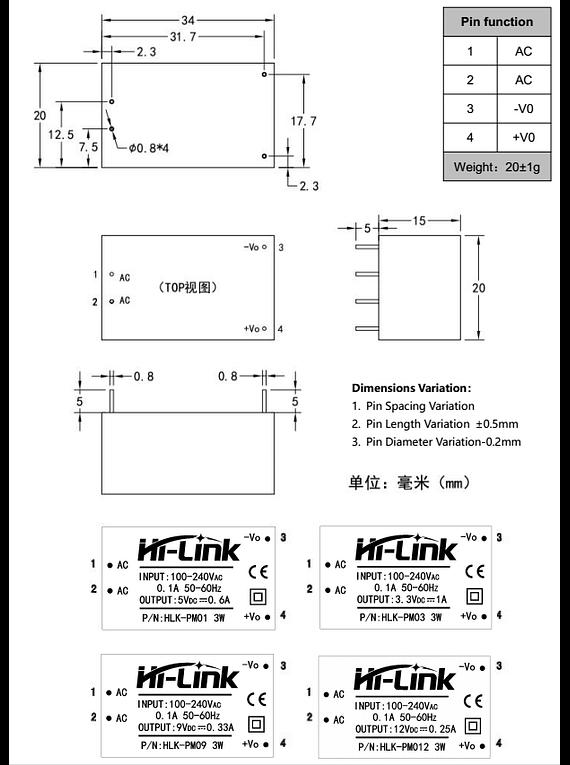 FUENTE AC-DC 3.3V HLK-PM03