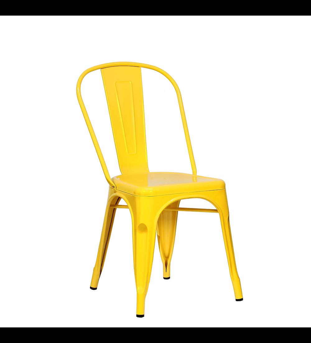 Silla diseño Tolix Asiento Metal Amarillo