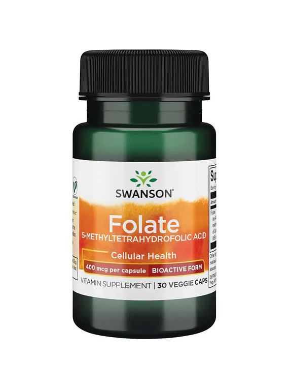 Acido Folico 400mcg, 30 capsulas vegetarianas- Swanson