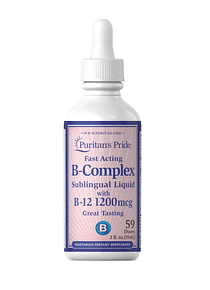 Complejo B con B-12 Sublingual 1,200 mcg 2 fl oz (59 ml)- Puritan`s Pride