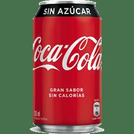 Refresco sabor Coca-Cola sin azúcar, en lata de 355 ml.