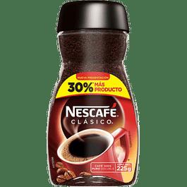Café soluble clásico, frasco de 225 gramos.