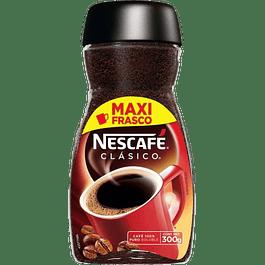 Café clásico soluble, en frasco de 300 gramos.