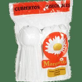 Cuchara tipo pastelera color blanca, bolsa con 50 piezas.