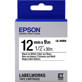 Labelworks cinta estándar modelo LK-4WBN 12mm compatible con LW-300, LW-400, LW-600P.