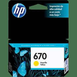 Cartucho de tinta color amarillo HP 670, para impresoras HP 5525-4615-4625-3525