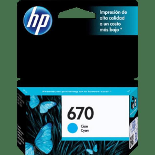 Cartucho de tinta color Cyan HP 670, para impresoras HP 5525-4615-4625-3525