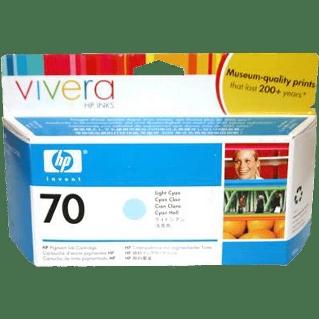 Cartucho de tinta HP 70, color Cyan claro, de 130 ml