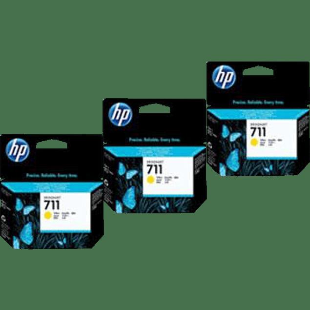 Cartucho de tinta HP 711 color amarillo, para designjet T120 y T52, paquete con 3 tintas.