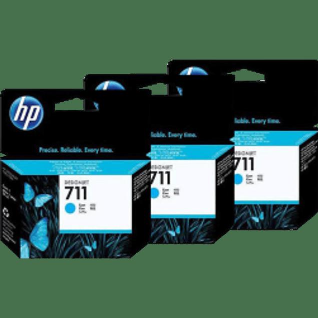 Cartucho de tinta HP 711 color Cyan,para designjet T120 y T520, paquete con 3 tintas.