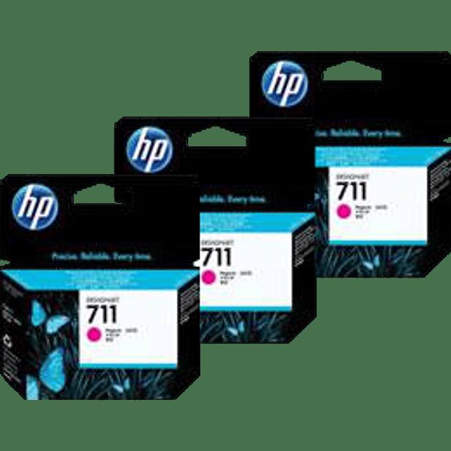 Cartucho de tinta HP 711 color magenta, para Desingjet T120 y T520 paquete con 3 tintas.