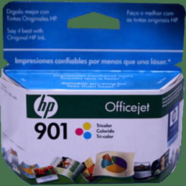 Cartucho de tinta Tricolor HP 901, rendimiento 360 páginas.