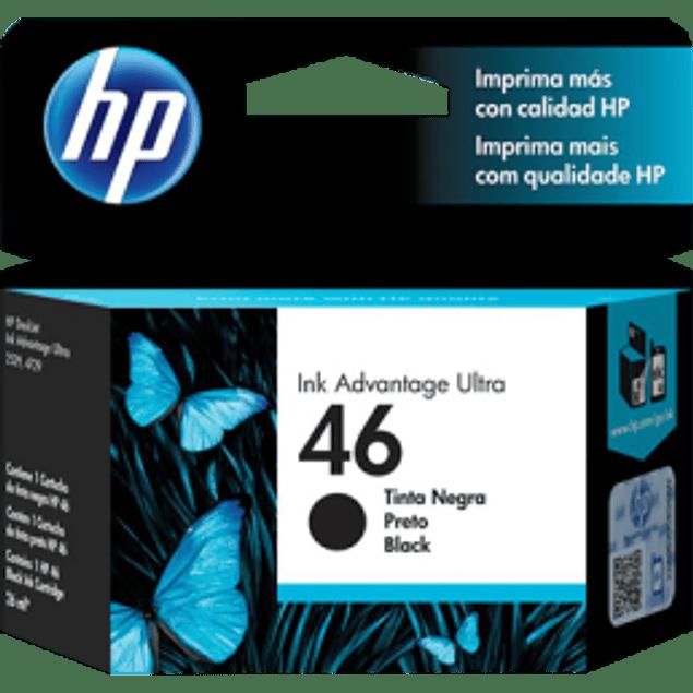 Cartucho de tinta color Negro HP 46 ink cartridge.