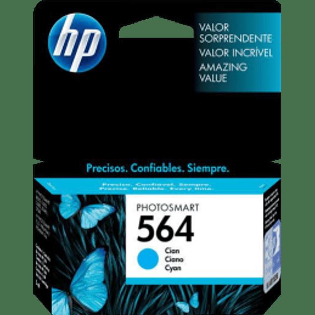 Cartucho de tinta color Cyan HP 564, rendimiento 300 páginas.