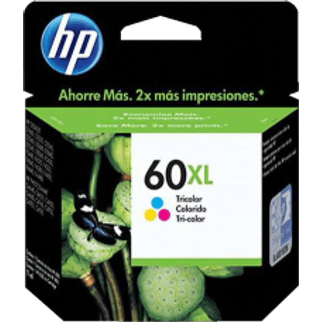 Cartucho de tinta Tricolor HP 60XL ink cartridge rendimiento hasta 440 páginas.