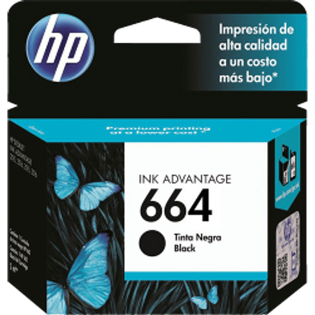Cartucho de tinta color negro HP 664 ink cartridge