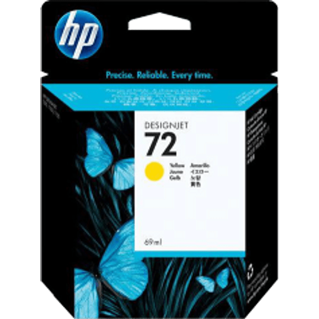 Cartucho de tinta color ]Yellow HP 72 con 69 ml ink cartridge.
