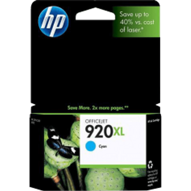 Cartucho de tinta color Cyan HP 920XL Office jet ink cartridge.