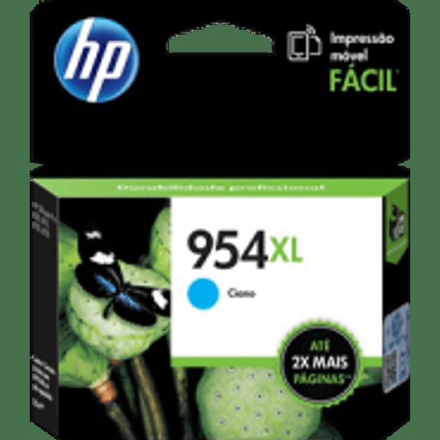 Cartucho de tinta color Cyan HP 954XL de alto formato, rendimiento 1600 páginas.