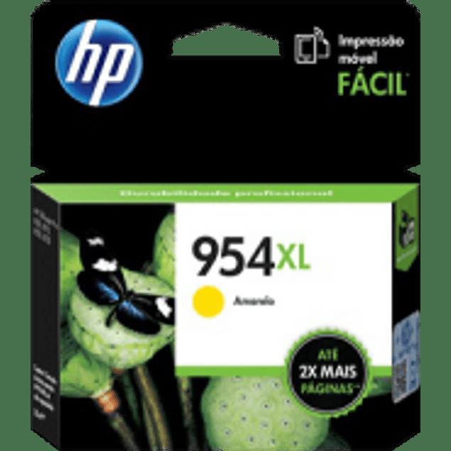 Cartucho de tinta color Yellow HP 954XL de alto formato, rendimiento 1600 páginas.