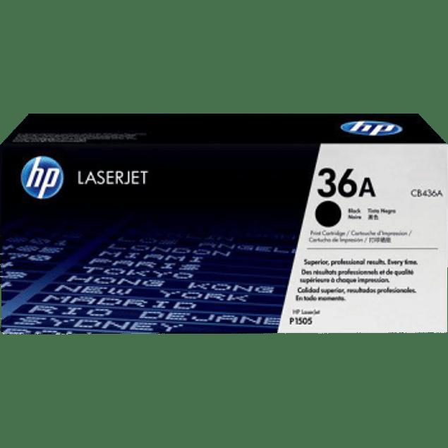 Tóner de tinta color Negro HP 36A rendimiento 2,000 páginas.
