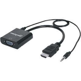 Convertidor video HDMI a SVGA + Audio, color negro