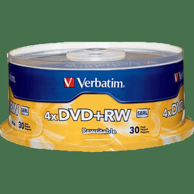 Disco DVD+RW de 4.7 gb 4x torre con 30 piezas