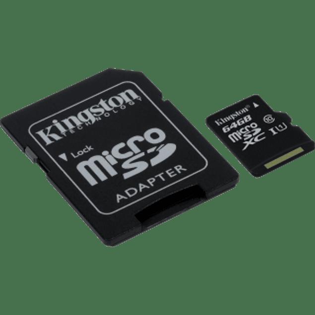 Memoria Micro SD clase 10 de 64GB con adaptador