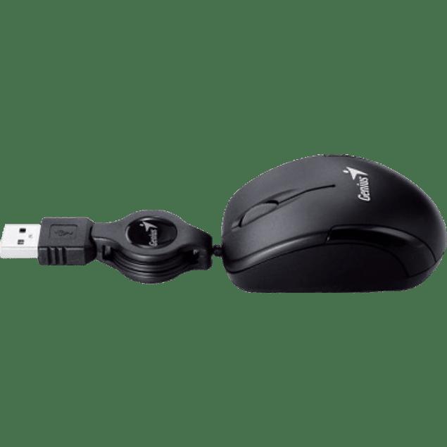 Mouse Óptico, alámbrico retráctil USB, micro traveler, color negro