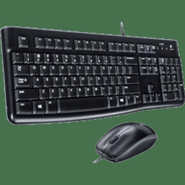 Kit Teclado y Mouse MK120, conexión USB, color negro.