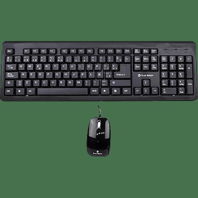 Kit de Teclado y Mouse, modelo TrueBasix TK-210 Estándar color negro