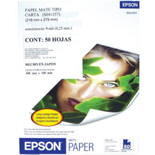 Papel mate tamaño carta, paquete con 50 hojas