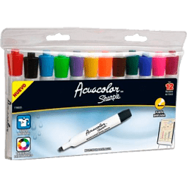 Marcador Acuacolor paquete con 12 piezas colores surtidos