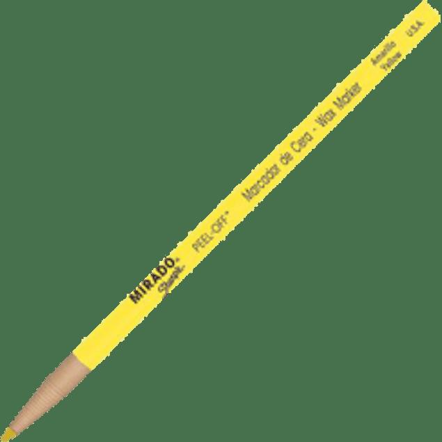 Marcador de cera color amarillo tipo lápiz, mirado