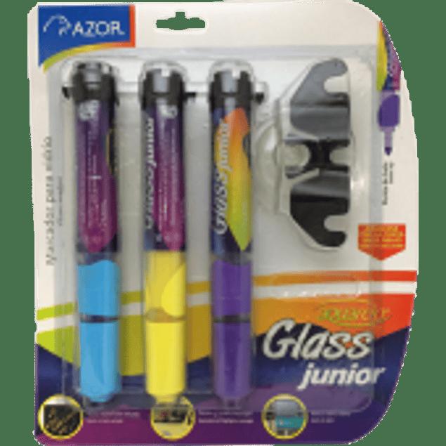 Marcador para vidrio con 3 piezas en colores, Aquarelo glass