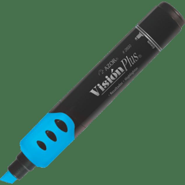 Marcador  fluorescente color azul,  Visión Plus.