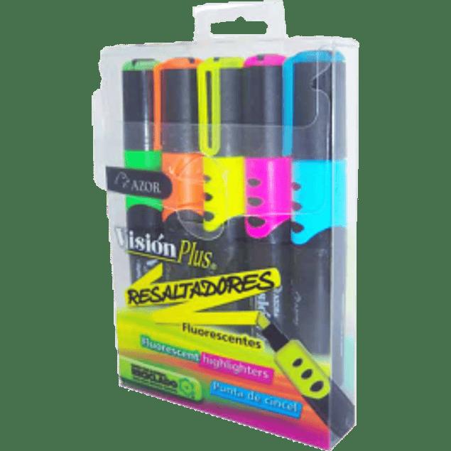 Marcatextos fluorescente blíster con 5 colores surtidos, Visión  Plus