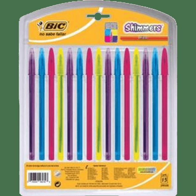 Bolígrafo surtido color de tinta, con 15 piezas, Shimmers.