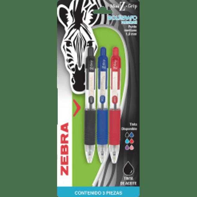 Bolígrafo Mini, retráctil punto mediano 1,0 mm, colores surtidos, blíster de 3 piezas