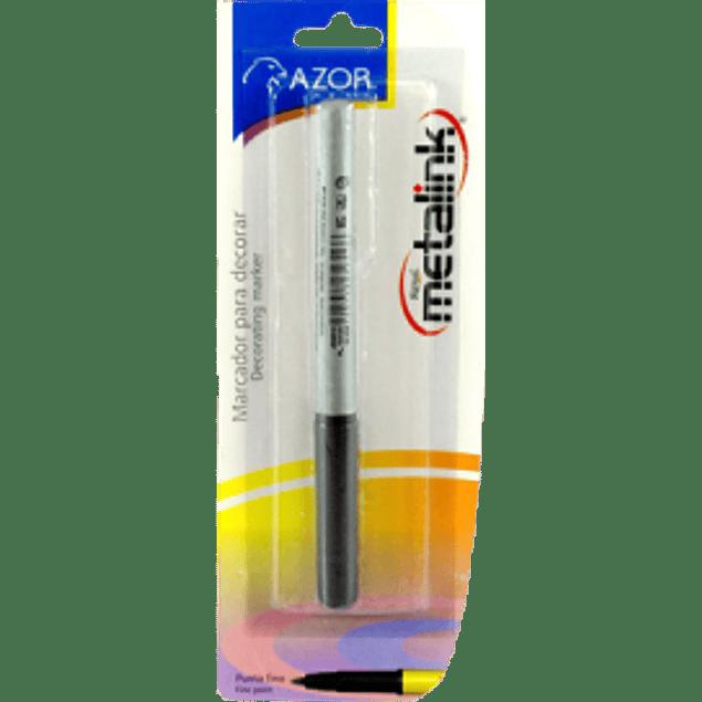 Marcador permanente de punto fino color plata, Signal Metalink