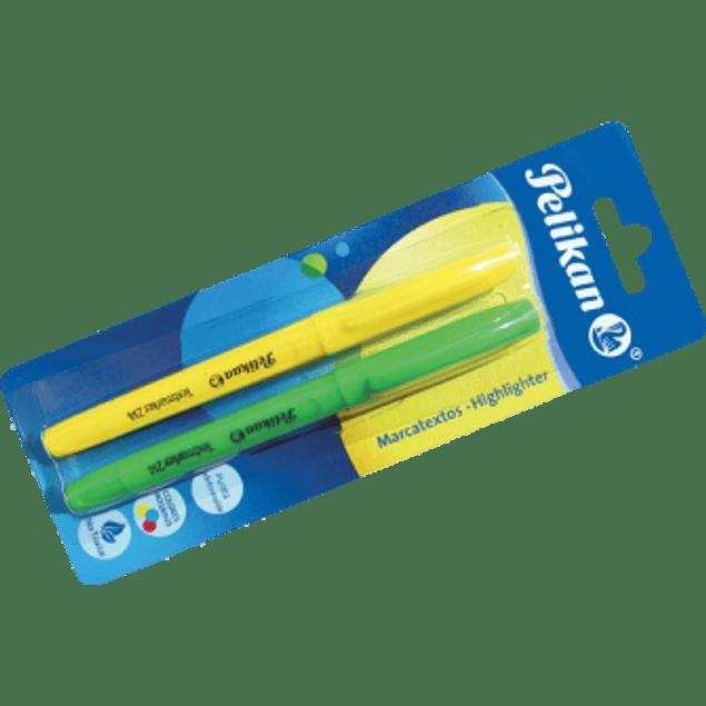 Marcatextos blíster color verde y amarillo, 1 pieza de cada color.