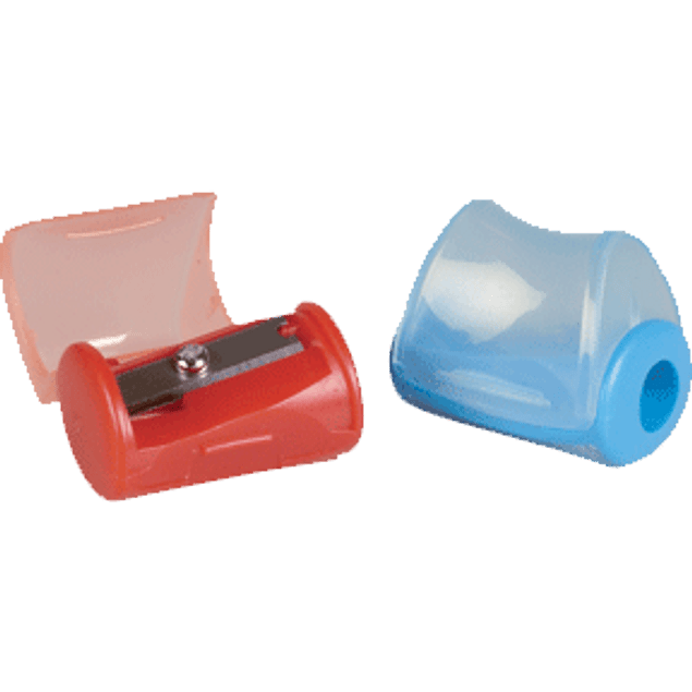 Sacapuntas de plástico con contenedor