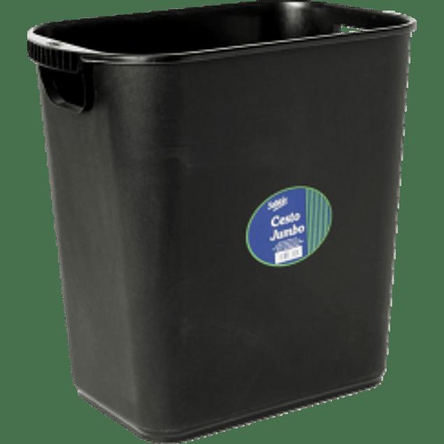 Cesto jumbo para basura con asa, color negro.