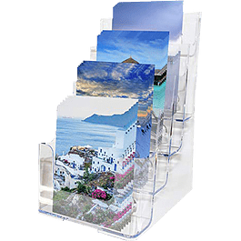 Porta folletos de acrílico transparente 4 niveles