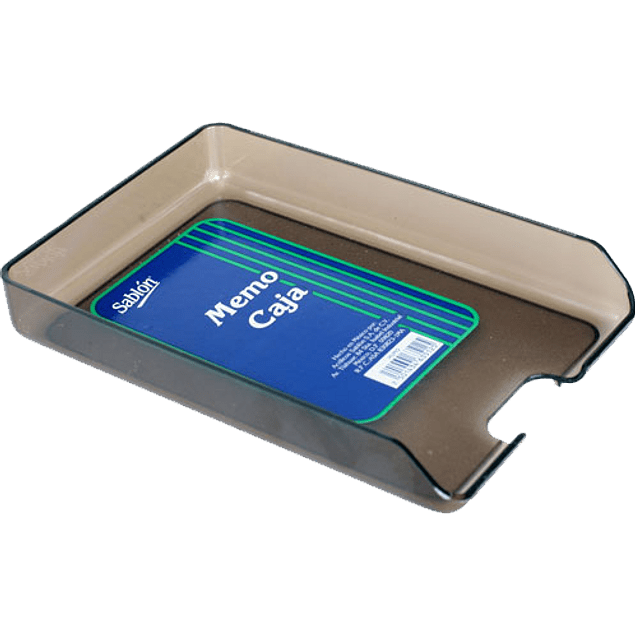 Memo caja tamaño tarjetero, plástica humo, vertical, apilable