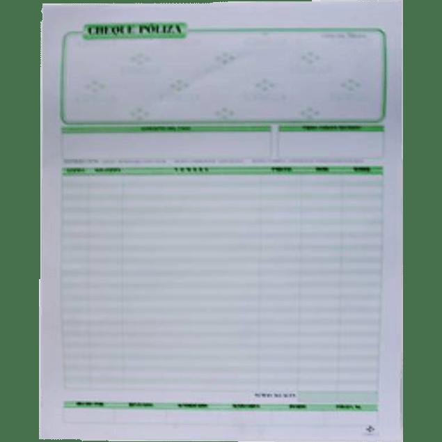 Block póliza de cheque tamaño carta original y copia