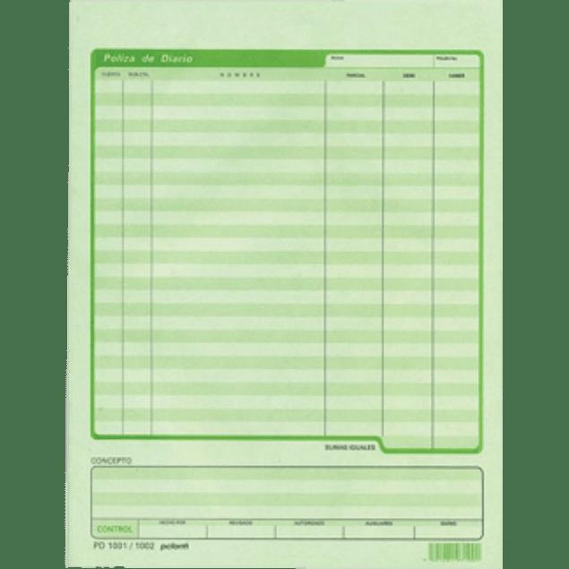 Póliza de diario tamaño carta, color verde.