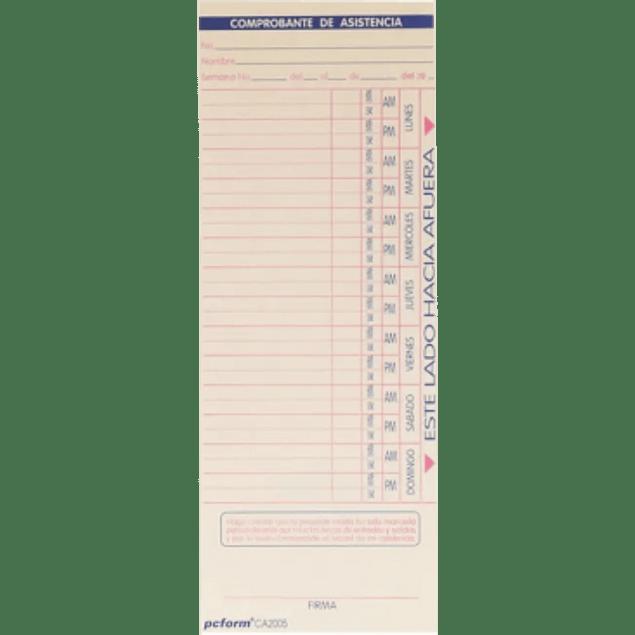 Tarjeta para Reloj Checador Semanal de 8.3 x 21.3 cm