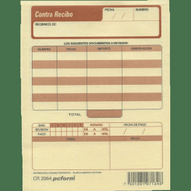 Póliza de contra recibo  original y copia, tamaño 1/4 hoja.