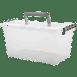 Caja plástica con tapa y asa, capacidad de 5 litros.